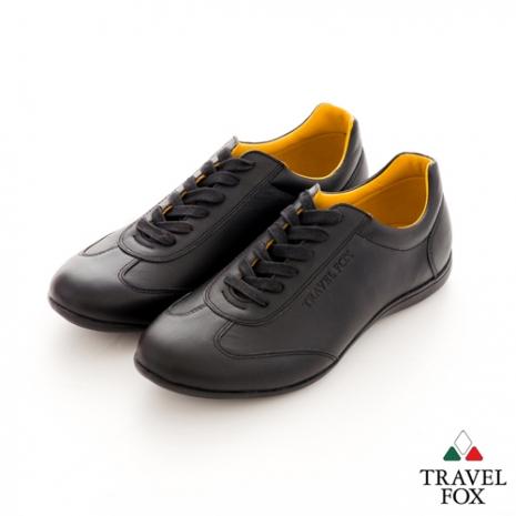 Travel Fox(男) SMART-智慧創意 速度感全牛皮綁帶休閒鞋 - 黑
