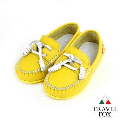 【Travel Fox 童鞋】 天然純牛皮 童趣經典帆船鞋 - 小花黃