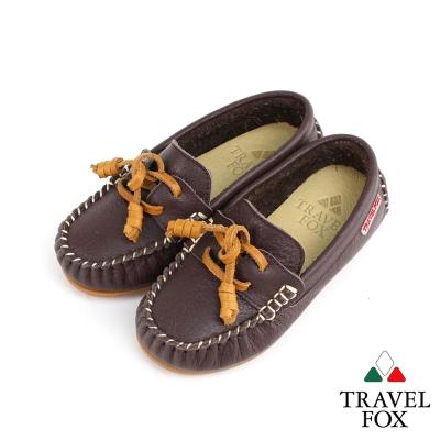 【Travel Fox 童鞋】 天然純牛皮 童趣經典帆船鞋 - 薑餅咖