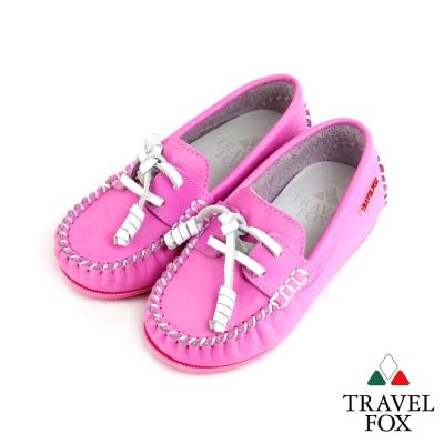【Travel Fox 童鞋】 天然純牛皮 童趣經典帆船鞋 - 小熊粉