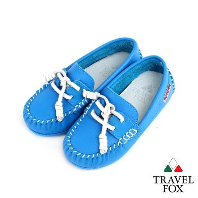 【Travel Fox 童鞋】 天然純牛皮 童趣經典帆船鞋 - 小船藍