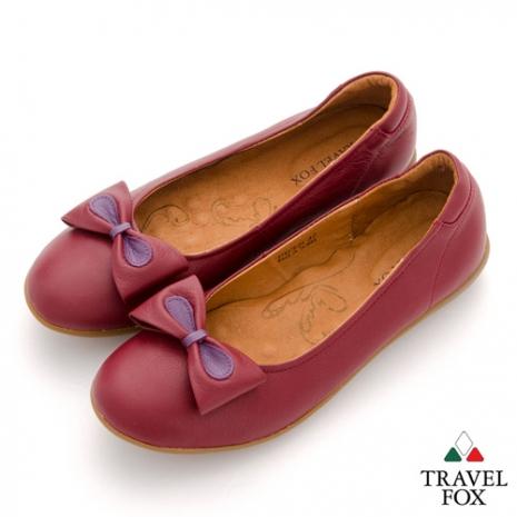 Travel Fox(女) SOFT-柔軟舒適 雙色蝴蝶結休閒娃娃鞋 - 醉紅