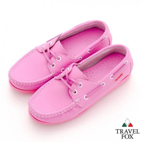 Travel Fox(女) STYLE-風格流行 全色牛皮帆船鞋 - 粉