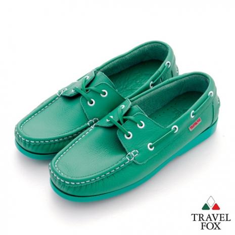 Travel Fox(男) STYLE-風格流行 全色牛皮帆船鞋 - 綠