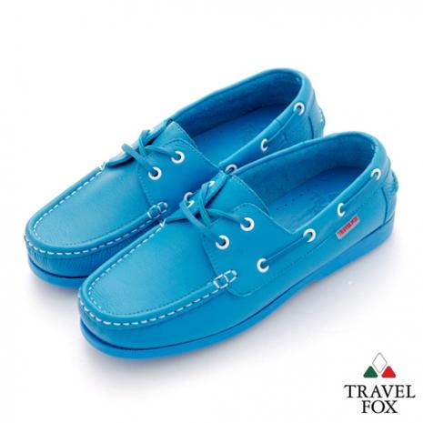 Travel Fox(男) STYLE-風格流行 全色牛皮帆船鞋 - 藍