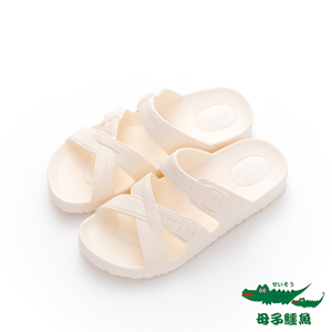 母子鱷魚(女)★ 大交錯勃肯 EVA超輕量平底拖鞋 - 純白