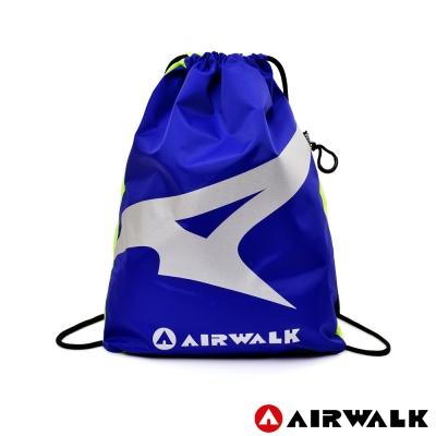AIRWALK - A字風潮 雙彩雙面 尼龍輕便束口後背包 - 雙螢藍