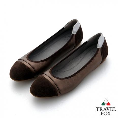 Travel Fox(女) SOFT-柔軟舒適 淺口半圓麂皮雙色休閒鞋 - 古銅咖