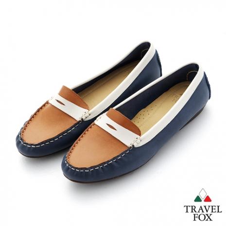 Travel Fox(女) SOFT-柔軟舒適 撞色開口造型直套休閒鞋 - 藍棕白