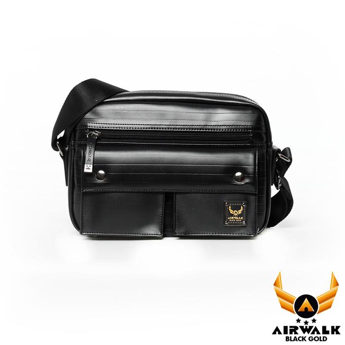 AIRWALK - 黑金系列 皮感風格後背包 - 黑