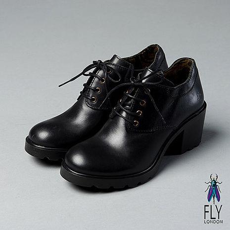 Fly London(女)★超時尚個性  綁帶圓頭低跟踝靴 - 學院黑