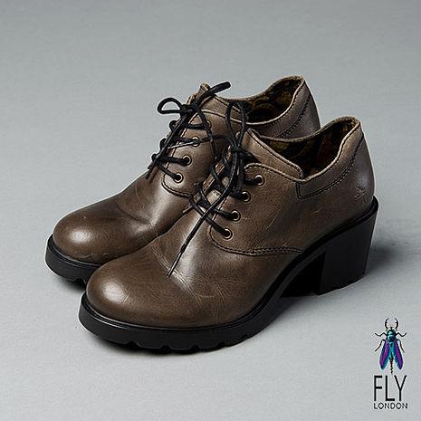Fly London(女)★超時尚個性  綁帶圓頭低跟踝靴 - 流行灰