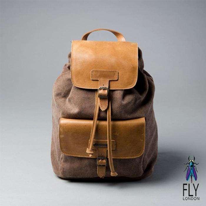 Fly London - 自由的味道 布與皮的搭檔後背包 - 駝棕