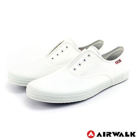 AIRWALK(男) - 就愛帆布鞋 鬆緊帶彈性帆布鞋 - 純白
