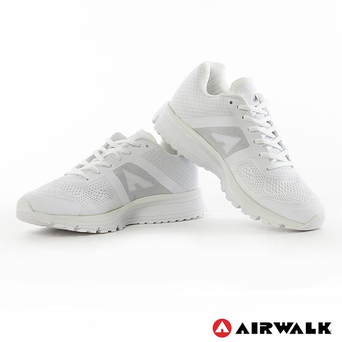 AIRWALK(女) - 單色網布透氣記憶鞋墊慢跑鞋 - 純白