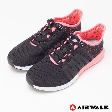 AIRWALK(女) - 率真輕量透氣網布慢跑鞋 - 黑