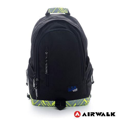 AIRWALK-迷彩底半圓雙層登山後背包-黑