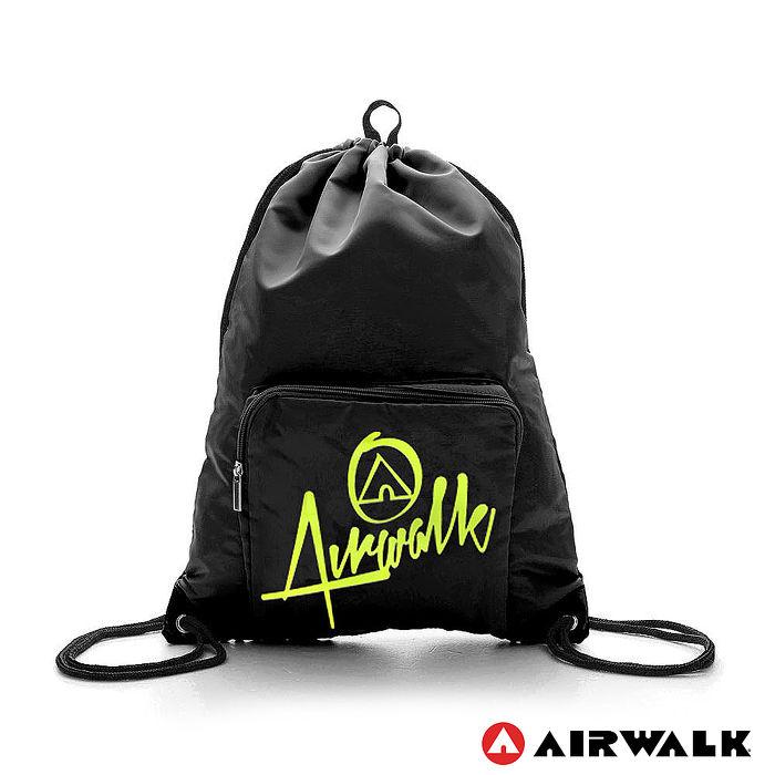 AIRWALK - 樂活城市系列 第二代尼龍束口後背包 - 黑