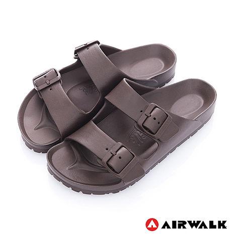AIRWALK - AB拖 優雅雙扣 輕量防水EVA羅馬休閒拖鞋 - 深咖