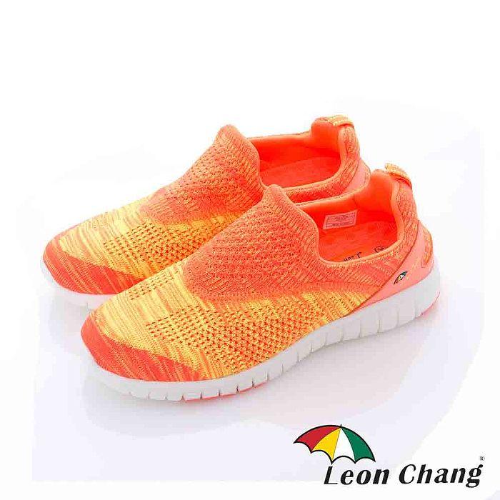 Leon Chang(女) - 彩虹魚 漸層編織輕量直套休閒運動鞋 - 黃橘