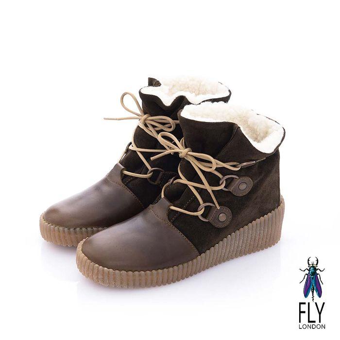 Fly London(女) 黛西寶貝 鋪棉雙料綁帶牛皮中筒靴- 史瑞綠
