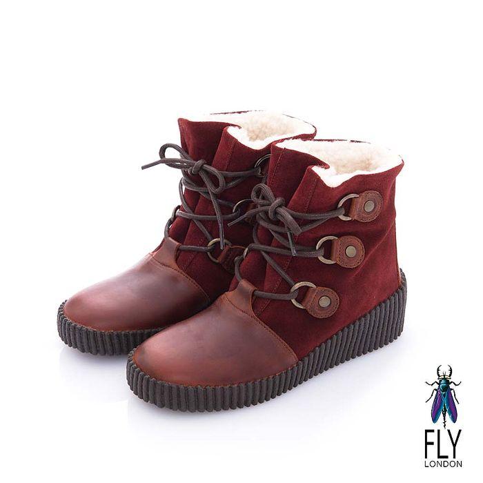 Fly London(女) 黛西寶貝 鋪棉雙料綁帶牛皮中筒靴- 歐娜紅