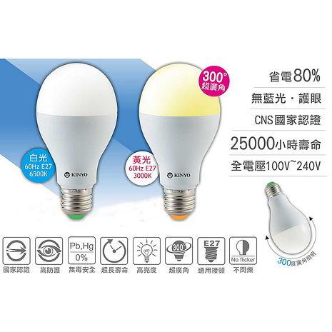 【KINYO】5W LED超廣角E27省電燈泡(HLED-5)