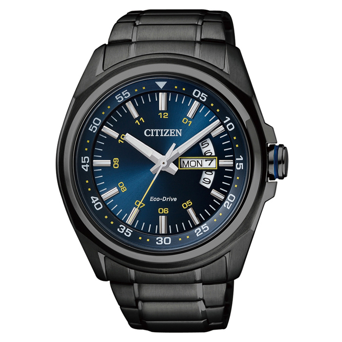 【CITIZEN】Eco-drive 時尚有型 都會太陽能能男錶-黑x藍 (AW0024-58L)