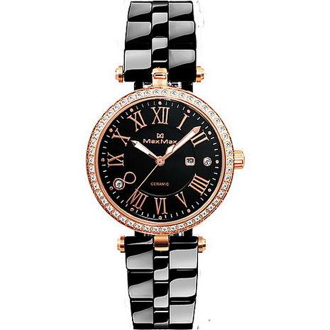 Max Max 羅馬奢華 黑爵鑲鑽 限量腕錶 MAS5129-3