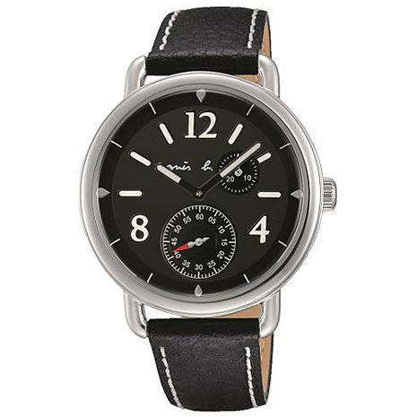 【agnes b.】創意巧思 航海藝術家皮帶腕錶-黑/40mm(VD73-KV10D/BW2005X1)