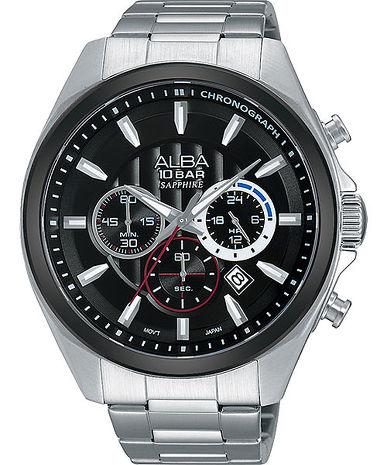 【ALBA】 街頭潮流 黑框層次三眼計時腕錶-銀/黑/45mm (VD53-X219D/AT3833X1