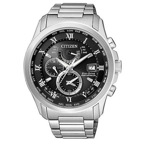 【CITIZEN星辰】內斂有型 光動能電波三眼計時腕錶-黑/43mm(AT9080-57E)
