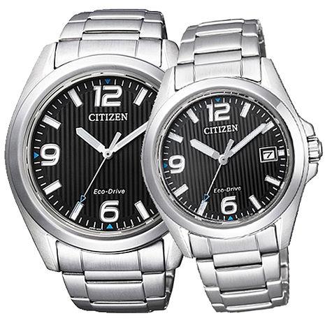 【CITIZEN】Eco-Drive 光動能知性時尚情人對錶-黑x銀 (AW1430-51E/FE6030-52E)