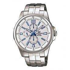 ~CASIO卡西歐~ EDIFICE 簡約 直紋三眼鋼帶腕錶~銀白^(EF~343D~7A