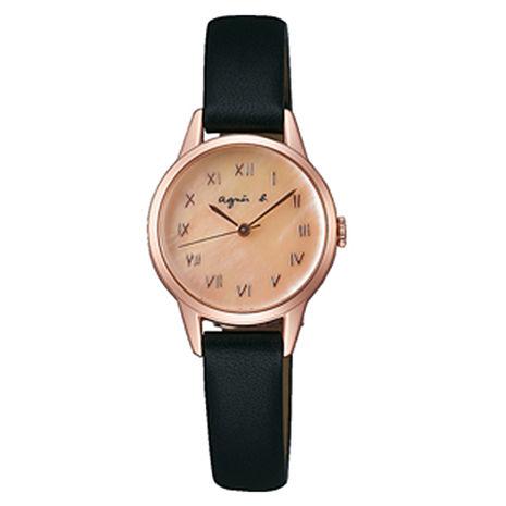 【agnes b.】復古手繪羅馬字體皮革女腕錶-25mm/玫瑰金黑 (VJ21-KT60K/BH8027X1)