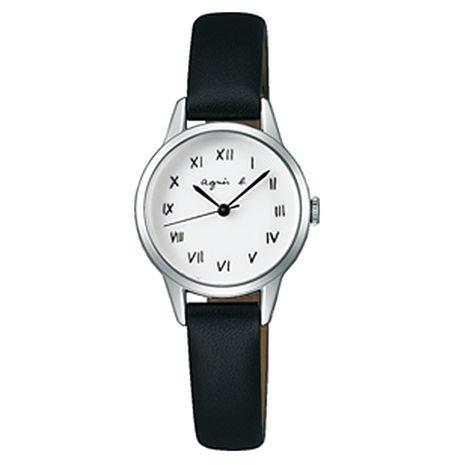 【agnes b.】復古手繪羅馬字體皮革女腕錶-25mm/白黑 (VJ21-KT60S/BH8025X1)