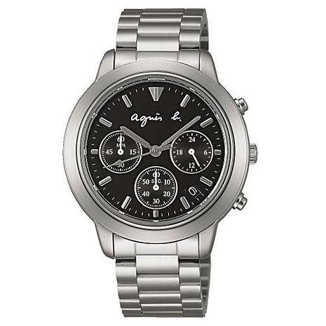 【agnes b.】王者風範 三眼時計鋼帶腕錶-黑x銀/40mm (VD53-KQ00D/BT3012X1)