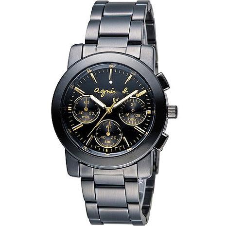 【agnes b.】閃耀時尚金圈三眼計時腕錶-IP黑x金/38mm (V654-0AE0G/BWY063P)