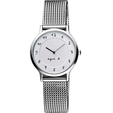 【agnes b.】簡約優雅手繪字體女腕錶-銀 (VC10-K680S/BJ5007X1)