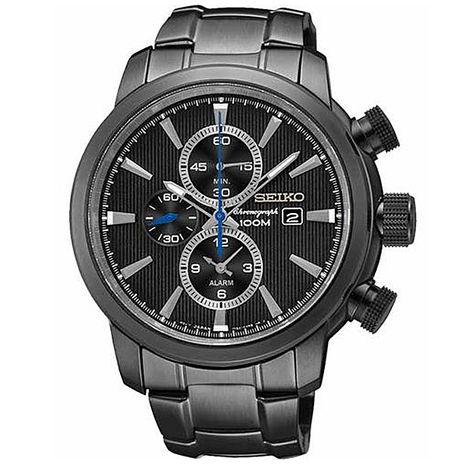 【SEIKO精工】率性時尚 兩地時間三眼計時腕錶-黑 (7T62-0LG0SD/SNAF49P1)