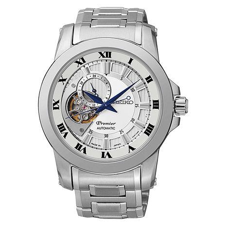 【SEIKO 精工】Premier 尊爵品味紳士古典鋼帶腕錶-白(4R39-00L0-S/SSA213J1)