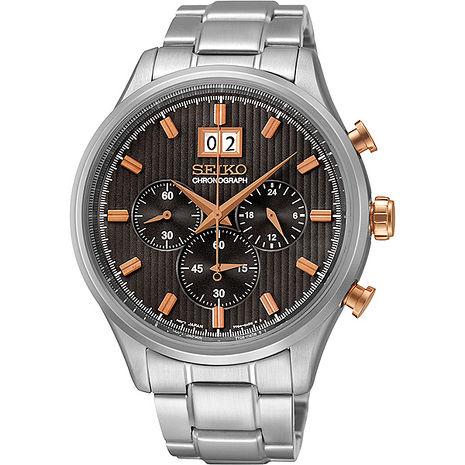 【SEIKO 精工】先鋒任務 時尚三眼計時鋼帶腕錶-銀/咖(7T04-0AE0P/SPC151P1)