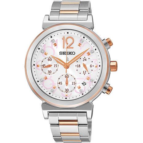 【SEIKO】LUKIA 美好旅行太陽能三眼計時腕錶-雅致白(V175-0AJ0KS)