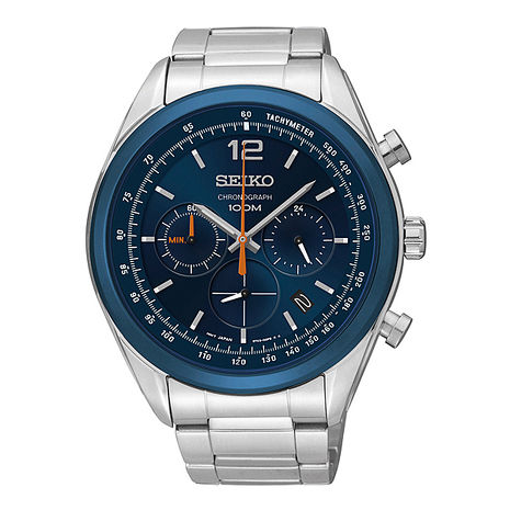 【SEIKO】極競風暴時尚三眼計時腕錶-鈷藍/45mm(6T63-00J0B)