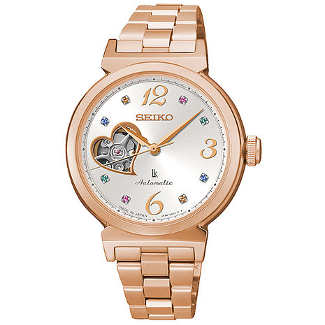 【SEIKO】LUKIA 甜蜜彩鑽心型鏤空晶鑽機械腕錶(銀x玫塊金 4R38-00N0L)