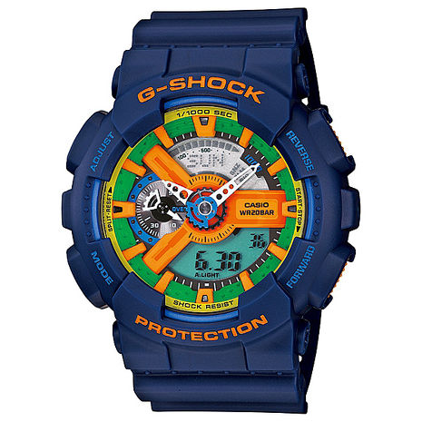 【CASIO 卡西歐】 G-SHOCK 新設計美學機械感運動休閒錶-藍(GA-110FC-2A)