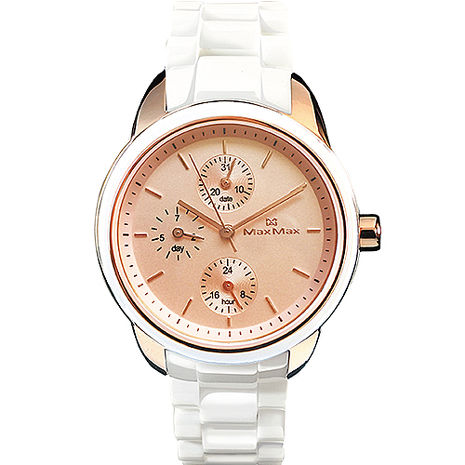 【MAX MAX】時尚經典三眼多功能陶瓷中性錶 (MAS7003S-13)