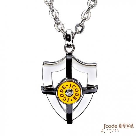 【J'code真愛密碼】-捍衛愛情 純金+白鋼男項鍊