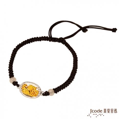 J'code真愛密碼 聚財貔貅黃金/純銀手鍊-黑(預購)