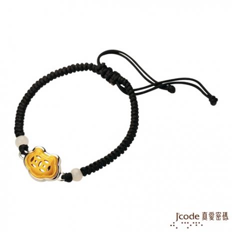 J'code真愛密碼 如意錢黃金/純銀手鍊-黑(預購)